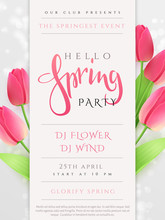 Vector Illustration Of Spring Party Poster Template With Lettering Label, Tulip Flowers And Flares