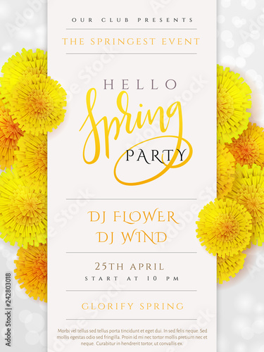 Vector spring party poster with lettering, lilac flowers and doodle branches