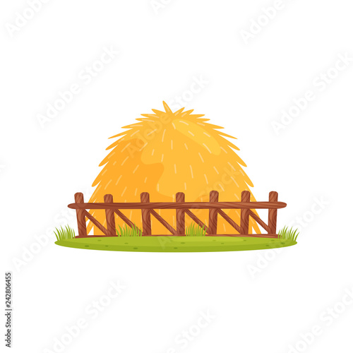 Large pile of dry hay behind wooden fence Wallpaper Mural
