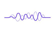 Vector Design Of Music Wave. Sound Pulse. Audio Equalizer. Purple Wavy Lines. Digital Waveform