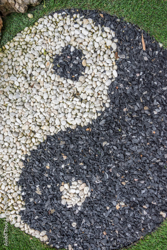 Close up beautiful yin yang stone  background. Wallpaper Mural