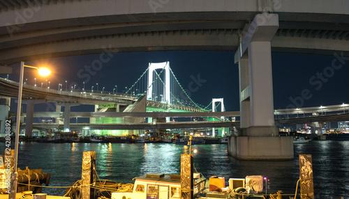 Rainbow Bridge in Tokyo at night レインボーブリッジの夜景