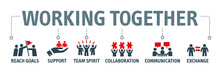 Working Together Vector Illustration Icons
