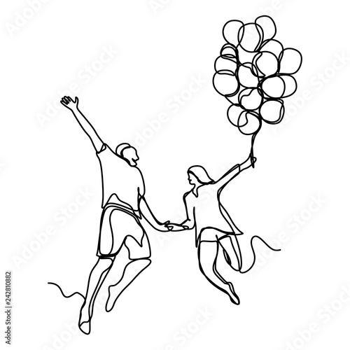 Fotografía  Continuous line drawing of happy couple running and holing balloons vector illus