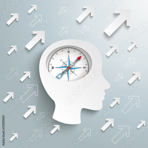 Human Head Brain Arrows Growth Success Compass