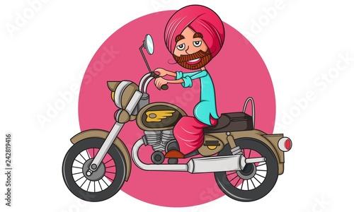 Fotografie, Tablou  Vector cartoon illustration of punjabi man on bullet bike