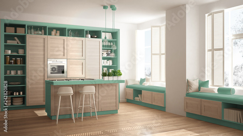 Modern Turquoise Kitchen With Wooden Details In Contemporary Luxury