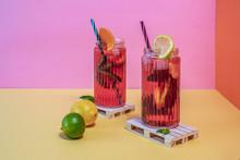 Jars Of Pink Cold Ice Tea