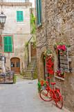Fototapeta Uliczki - Beautiful alley in Tuscany, Old town, Pitigliano, Italy