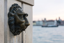 Decorative Part Of Stone Building With Sculpture Of Lion Head,  Small Fountain