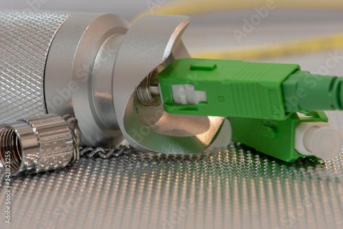 Fotografia  Fiber optic testing equipment closeup