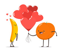 Couple Of Banana And Orange With Hearts And Air Balloons. Valentine Day Vector Cartoon Cute Fruit Character Isolated On White Background.