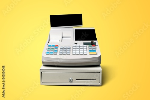 Photo Cash register with LCD display on background