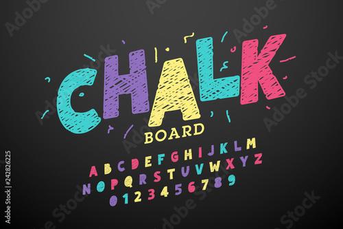 Colorful hand drawn chalk font Wallpaper Mural