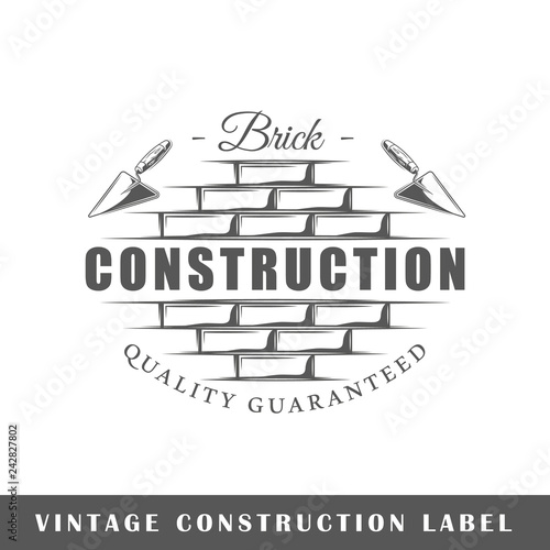Construction label isolated on white background Wallpaper Mural