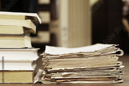 Fotografie, Obraz  Stack of Books and Newspapers