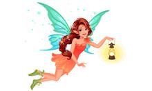 Beautiful Cute Fairy With Long...