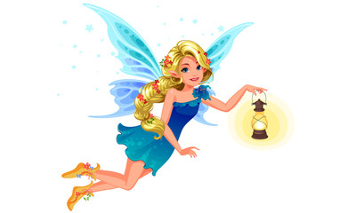Beautiful blonde blue wing fairy with long braided hairstyle holding a lantern