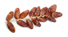 Sweet Dried Dates On White Bac...