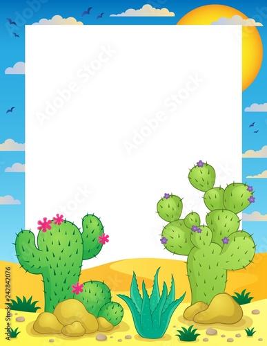 Tuinposter Voor kinderen Frame with cactus thematics 1