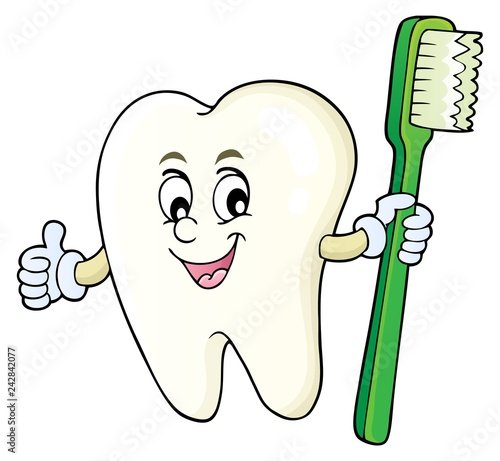 Tuinposter Voor kinderen Tooth holding toothbrush theme image 1