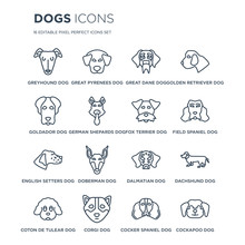16 Linear Dogs Icons Such As G...