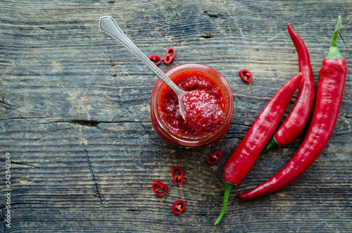 Foto op Canvas Kruiderij Red hot chili jam with fresh ingredients