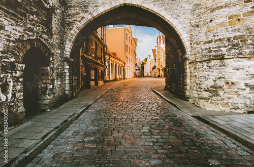 Tallinn Old Town medieval cobblestone street Estonia touristic central popular l Canvas Print