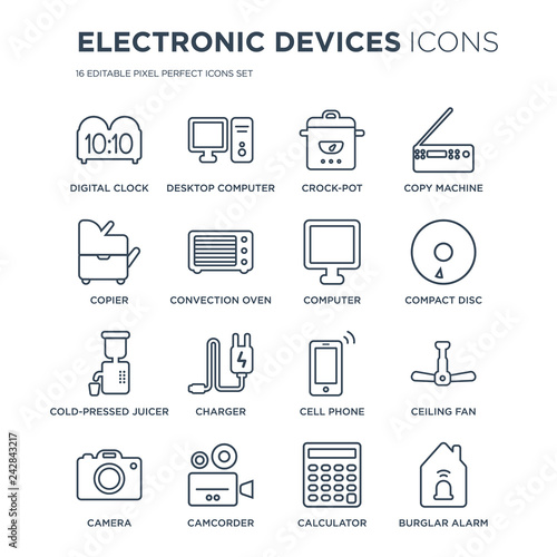 16 linear Electronic devices icons such as Digital clock
