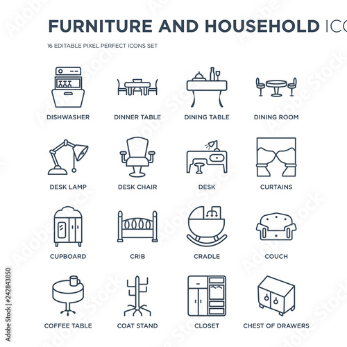 Astonishing 16 Linear Furniture And Household Icons Such As Dishwasher Cjindustries Chair Design For Home Cjindustriesco