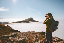 Man Travel Photographer With Camera In Mountains Travel Freelancer Blogger Lifestyle Hobby Concept Adventure Summer Voyage Outdoor