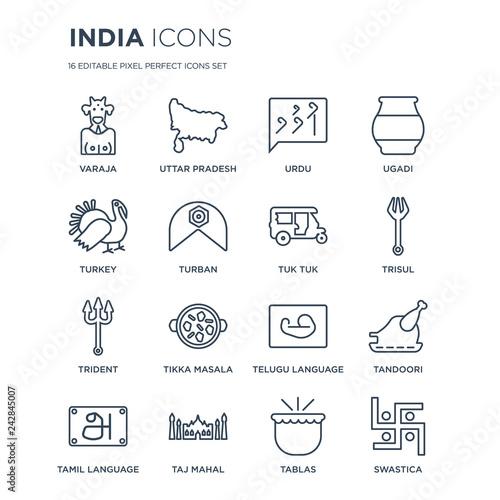 16 linear india icons such as Varaja, uttar pradesh, Taj