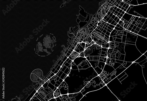 Wallpaper Mural Dark area map of Dubai, United Arab Emirates
