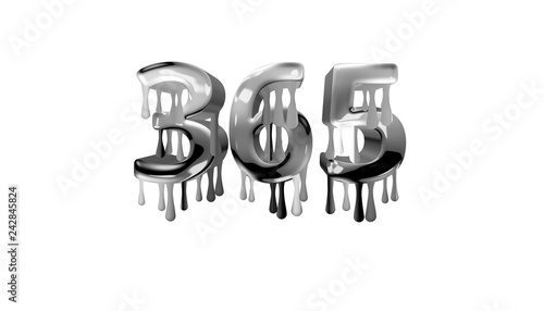 Obraz na plátne  silver dripping number 365 with white background