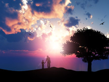3D Silhouette Of A Father And ...
