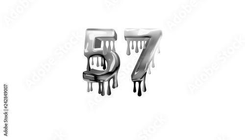 Photo  silver dripping number 57 with white background
