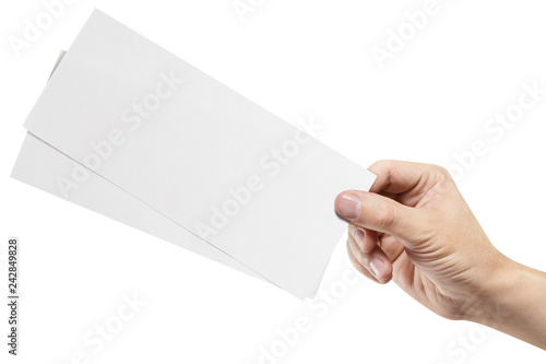 Photo  Male hand holding two blank sheets of paper (tickets, flyers, invitations, coupons, banknotes, etc