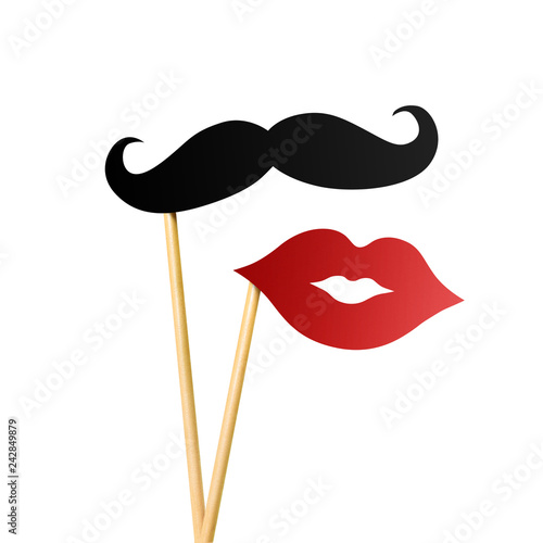 Paper lips and moustache on wooden sticks, isolated on white background Fototapet