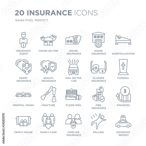 Collection of 20 Insurance linear icons such as agent, House