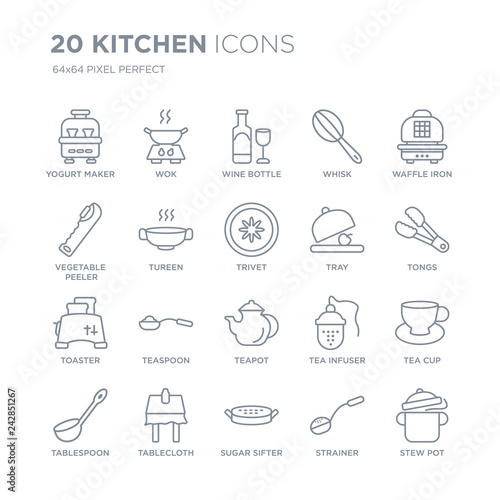 Valokuva  Collection of 20 Kitchen linear icons such as yogurt maker, wok, sugar sifter, tablecloth, tablespoon, waffle iron, Tray line icons with thin line stroke, vector illustration of trendy icon set