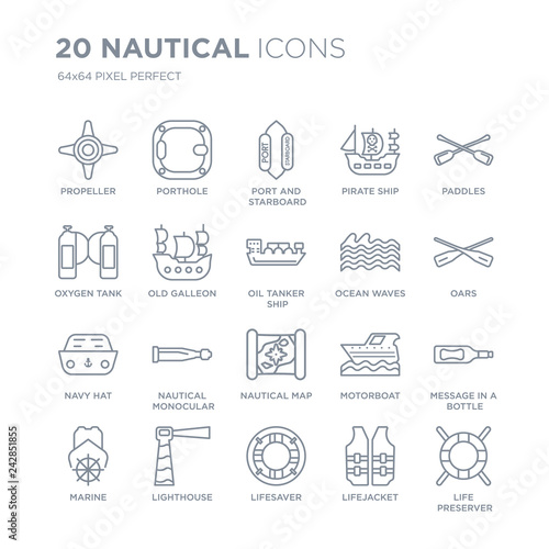 Fotografia  Collection of 20 Nautical linear icons such as Propeller, Porthole, Lifesaver, Lighthouse, marine, Paddles, Ocean Waves line icons with thin line stroke, vector illustration of trendy icon set