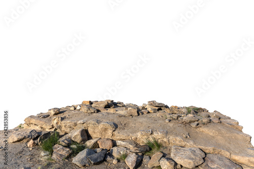 Fotografía Cliff rock stone located part of the mountain rock isolated on white background