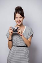 Woman Photographer Takes Photos, Isolated On White.