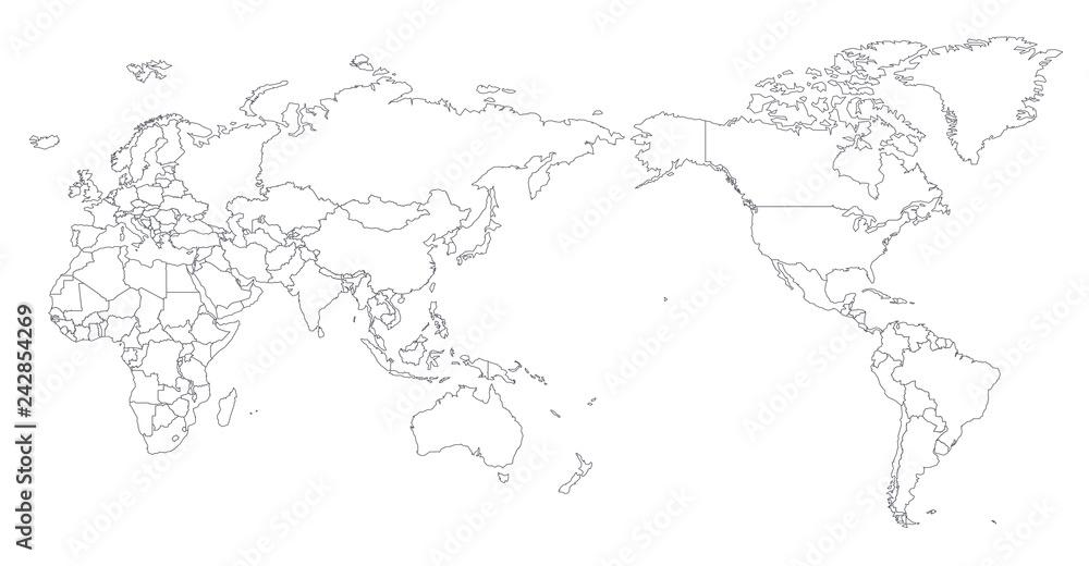 World Map Outline Contour Silhouette - Asia in Center Foto ...