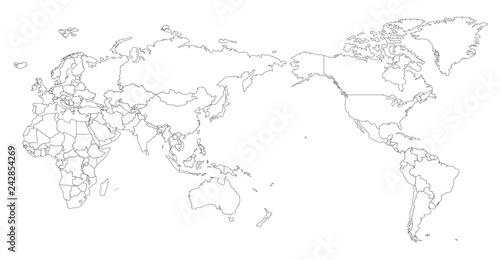 Fotobehang Wereldkaart World Map Outline Contour Silhouette - Asia in Center