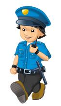 Cartoon Scene With Happy Polic...