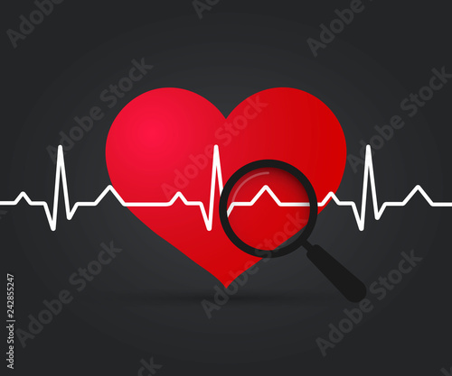 Ekg Heart  Heartbeat symbol and magnifying glass  Medical