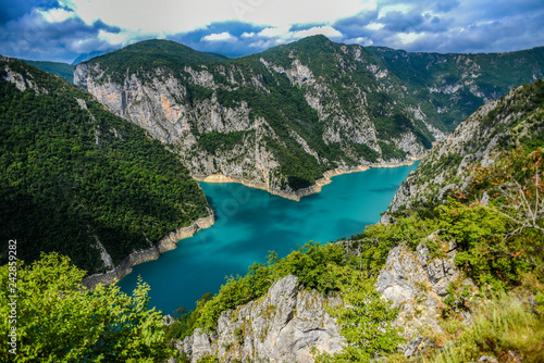 Piva river canyon in Montenegro, mountain landscape.
