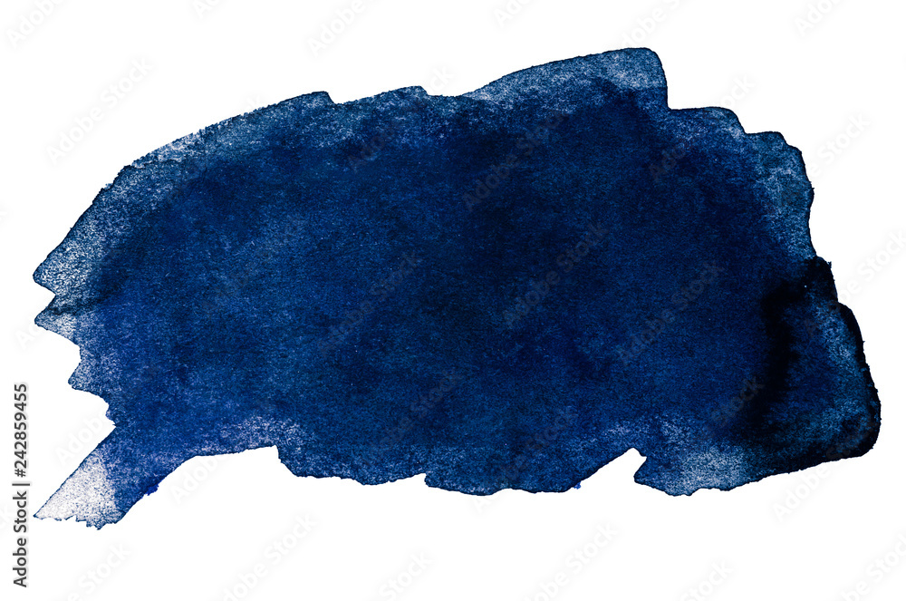 Fototapety, obrazy: Abstract aquarelle cold color wet brush paint stroke striped element for print, blank. Colorful watercolor blue paper texture hand drawn isolated stain on white background for text, web, design