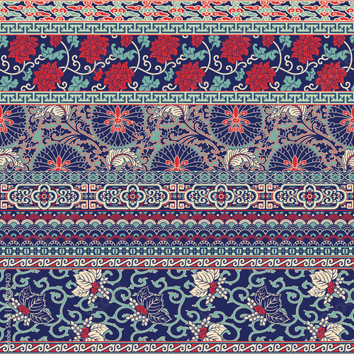 Fotografia, Obraz Traditional  Chinese fabric patchwork wallpaper  vector seamless  pattern